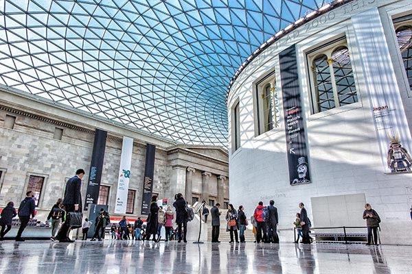 Great Court at the British Museum in London filled with visitors