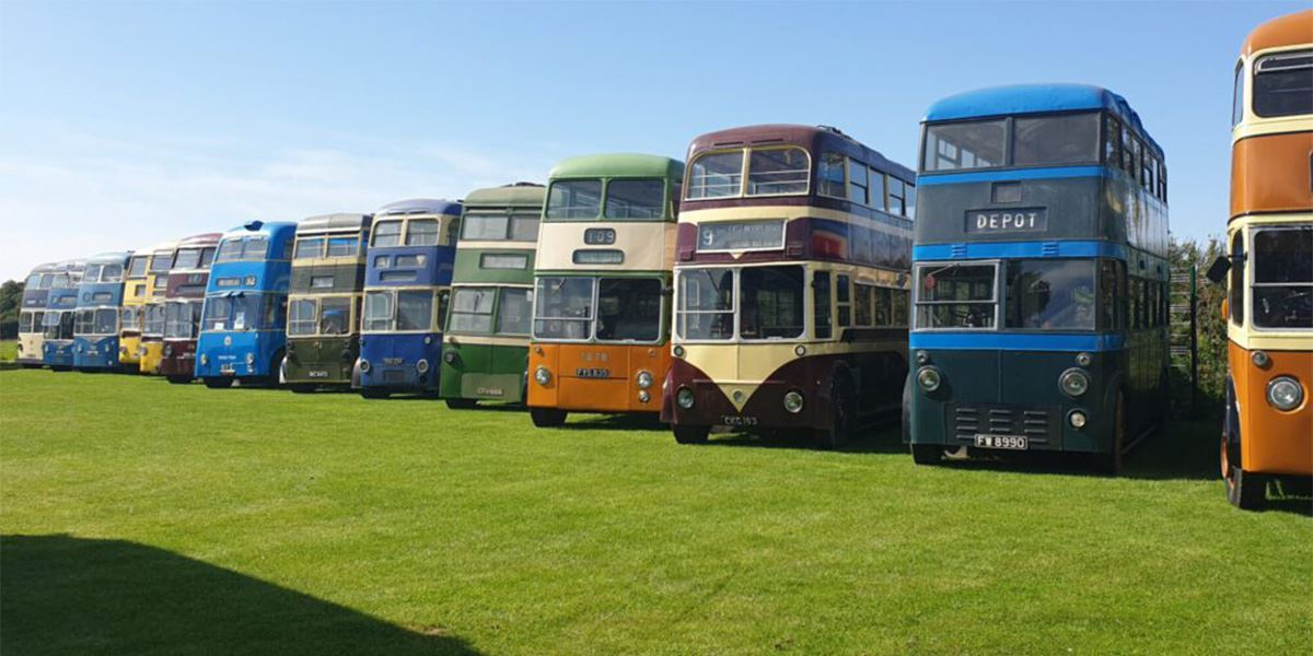 Some of the buses in the Trolleybus Museum's collection