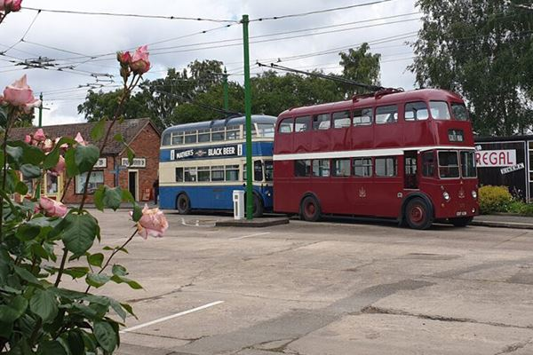 Two of the Trolleybus Museum's vehicles