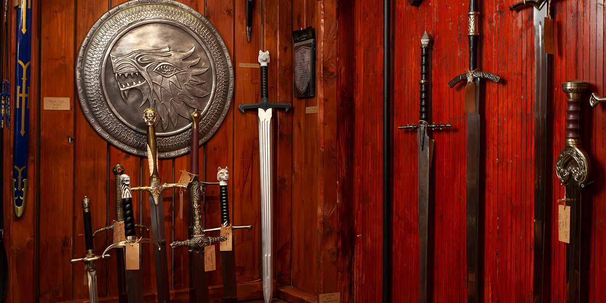 Selection of swords and shields at The Knights Vault