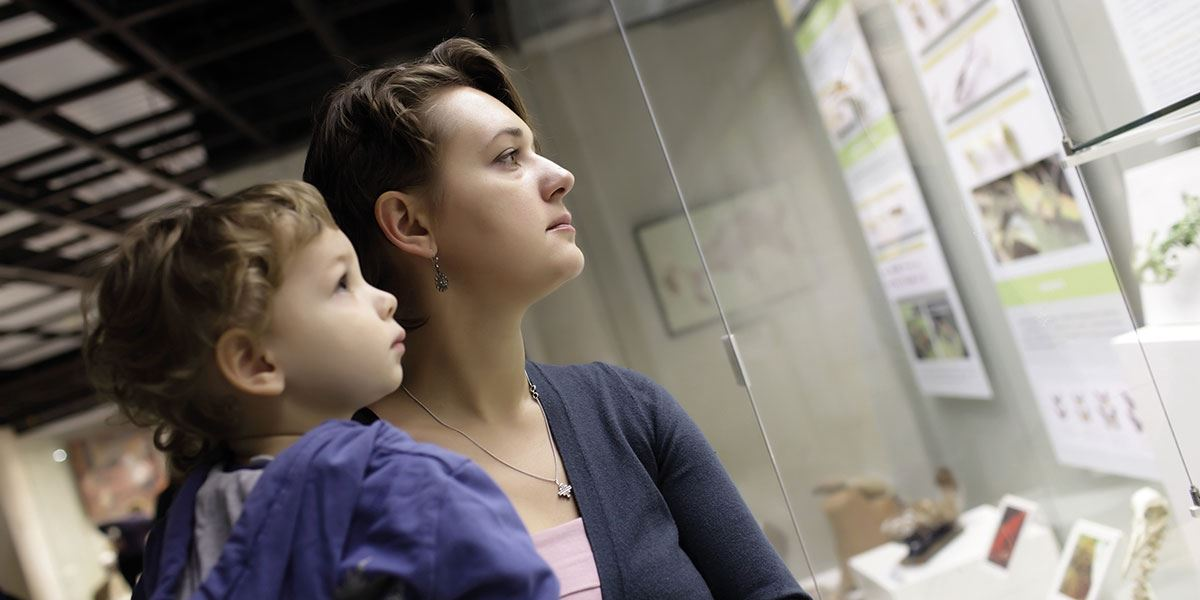 Women and child in museum