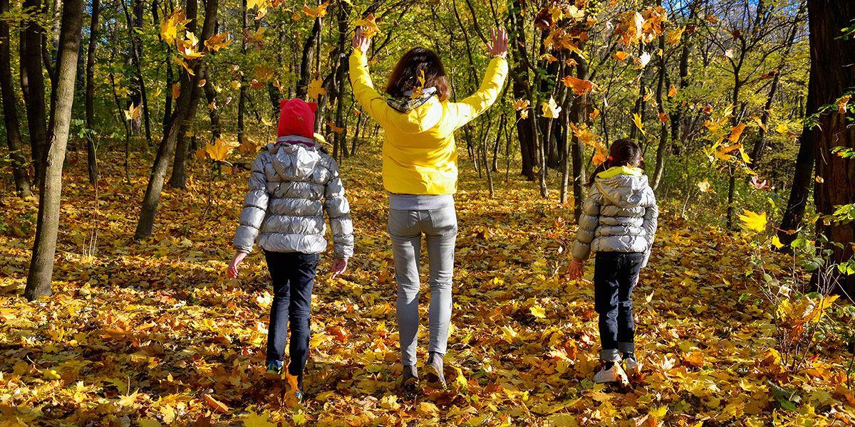 Children walking through a park