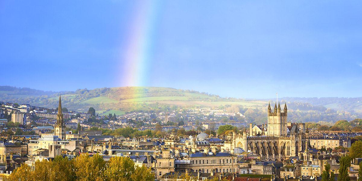 Bath with Rainbow over city