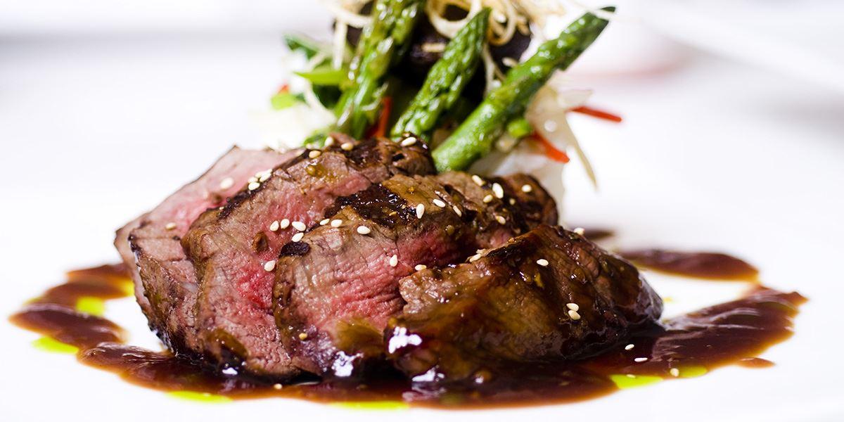 Sliced beef dish