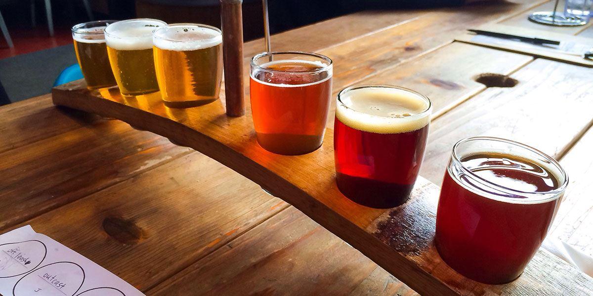 Beer flight at a pub