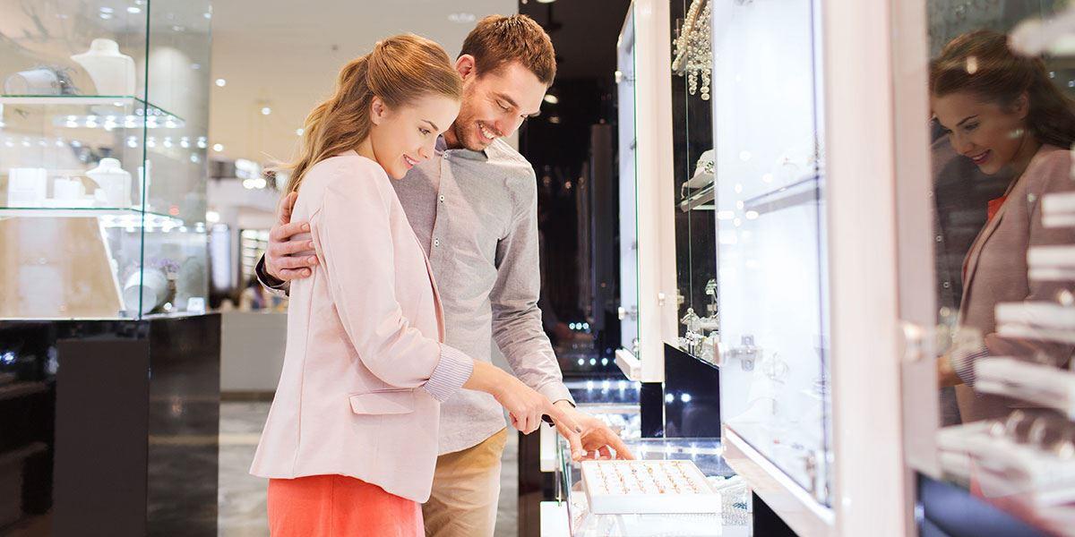 Couple in jewellery shop