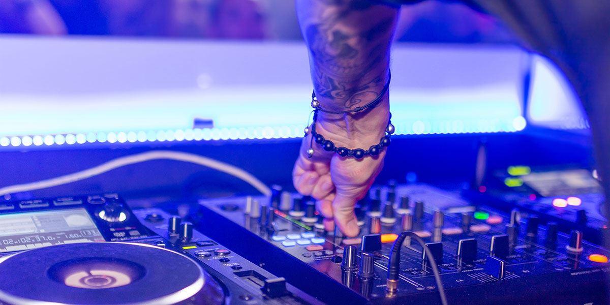 DJ decks in night club