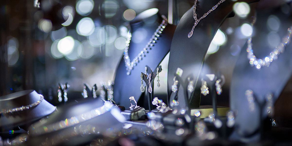 Jewellery in shop window