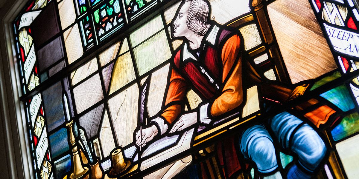 Window art at John Bunyan Museum